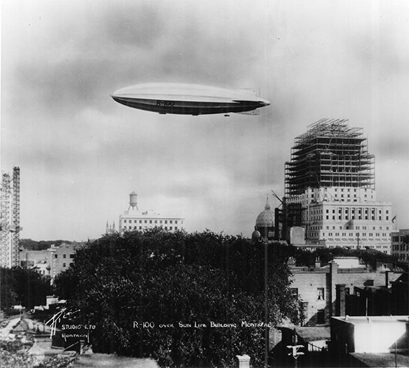 August 1, 1930, after a 16-day transatlantic journey, His Majesty's Airship R-100 sailed over Montréal and above the Sun Life Building, which was under construction at the time.